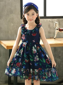 Floral Print Backless Chiffon Girls' Dress