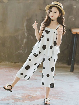 Polka Dots Tank Top Pants Girls' Two Piece Set