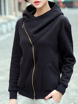 Special collar Sloping Zipper Hoodie
