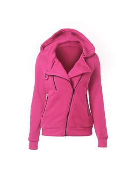 Stylish Multi Color Inclined Zipper Slim Hoodie