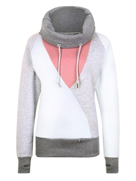 Stylish Turtleneck Color Block Hoodie
