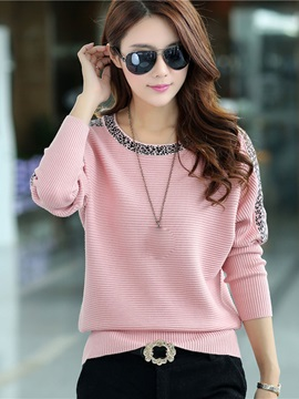Stylish Color Block Batwing Sweater