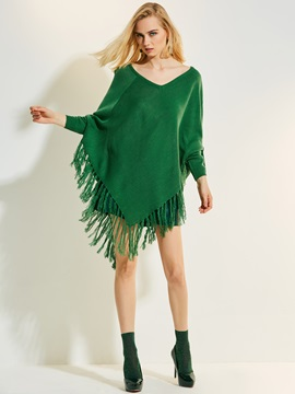 Plain V-Neck Tassel Patchwork Knitwear