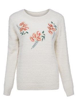 Round Neck Plant Embroideried Pullover Sweater Knitwear