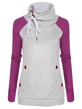 Casual Color Block Lace Up Hoodie