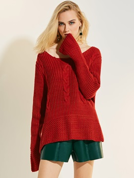 Loose Plain Flare Sleeve Knitwear