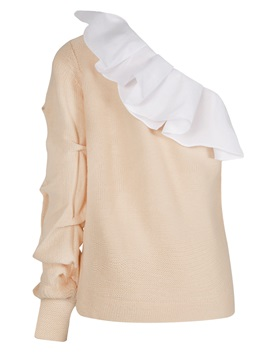 Ruffled Collar Color Block Falbala Women's Knitwear