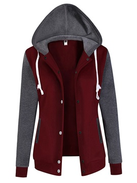 Cardigan Hooded Long Sleeve Patchwork Hoodie