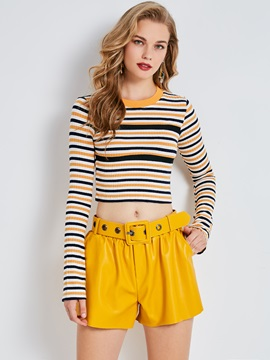 Sweater Color Block Stripe Flare Sleeve Women's Knitwear