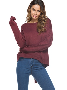 Round Neck Backlelss Lace-up Women's Knitwear