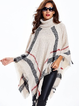Plaid Pullover Stand Collar Women's Cape