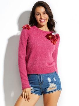 Round Neck Knitwear Applique Vacation Women's Sweaters
