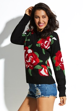 Floral Long Sleeve Pullover Women's Knitwear