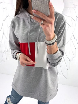 Long Sleeve Color Block Hooded Hoodie