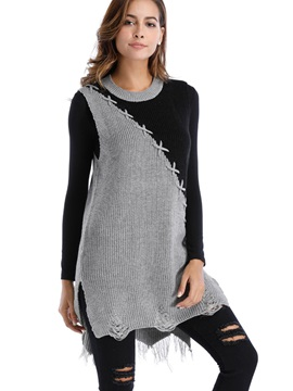 Color Block Long Sleeve Pullover Women's Knitwear