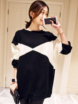 Color Block Long Sleeve Regular Women's Knitwear