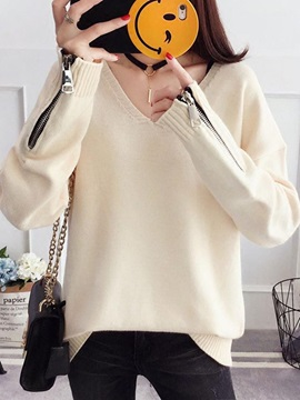 Long Sleeve Plain Regular Women Knitwear Sweater