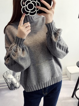 Lantern Sleeve Long Sleeve Women's Sweater