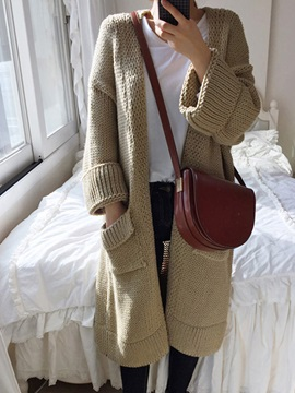 Tidebuy Long Pockets Knitwear Women's Cardigan