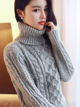 Cotton Long Sleeve Patchwork Women Knitwear