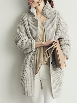 Stand Collar Button Plain Knitted Women's Cardigan