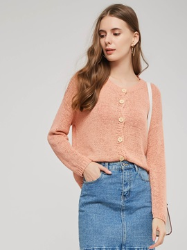 Round Neck Single-Breasted Women's Sweater Coat