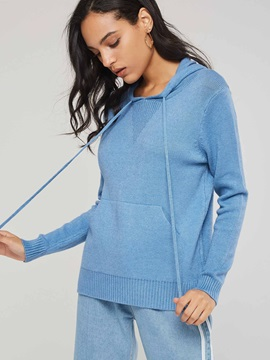 Wide Pocket Solid Color Women's Knitted Hoodie