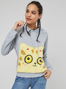Cartoon Print Youthful Women's Hoodie