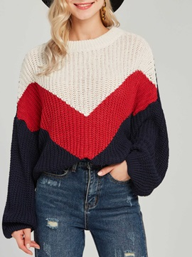 Color Block Loose Round Neck Women's Sweater