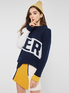 Color Block Print Mid-Length Loose Women's Sweater