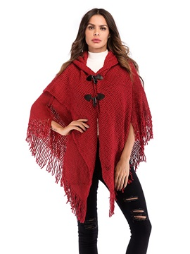 Casual Tassel Hooded Claw Button Women's Knitted Cape