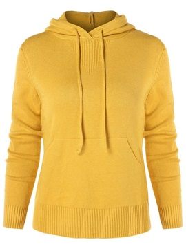 Plain Pocket Hooded Women's Sweater