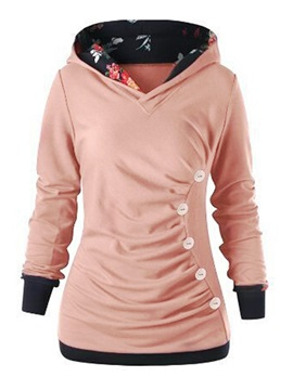 Regular  Color Block Mid-Length Women's Hoodie