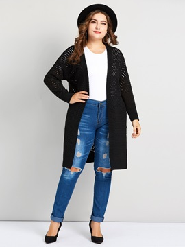 Plus Size Hollow Wrapped Fall Loose Women's Cardigan
