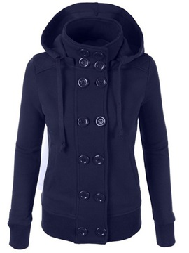 Plain Regular Double-Breasted Hooded Women's Hoodie