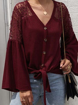 V-Neck Lace Patchwork Flare Loose Women's Sweater