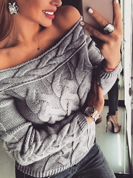 Regular Thin Patchwork Loose Long Sleeve Women's Sweater