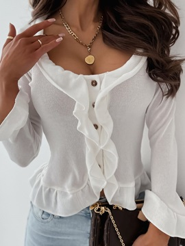 Button Thin Single-Breasted Long Sleeve Slim Women's Sweater