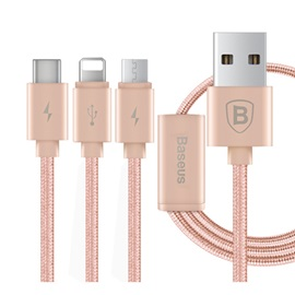 Baseus Portman Series 1.2M USB Sync Data Charging Cable 3 in 1 Micro + 8 Pin + Type-C