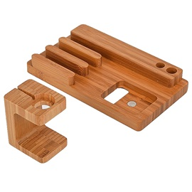 Environmental Bamboo Charger Holder for Watches Cell Phones Tablets