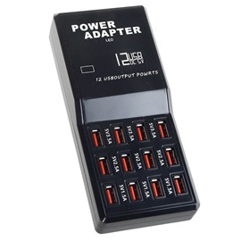 12-Port USB Charging Station Travel Friendly Desktop Charger with Multiple Protections for Smartphone