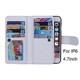 For iPhone 6/ 6sPlus Case Magnetic 2 in 1 Wallet Leather Card Holder Cash Slot Photo Frame Case
