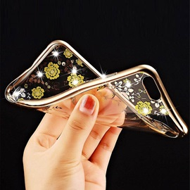 For Samsung Galaxy S5/S6/S6 Edge/S6 Edge+/S7/S7 Edge Case Electroplating Secret Garden Flower Diamond Phone Cases