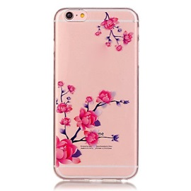 For iPhone 6/6 Plus/ 6S/6S Plus Transparent Colored Plum Branch Pattern TPU Soft Case Phone Case