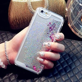 Glitter Star Liquid Back Quicksand Transparent Clear PC Hard Cover For iPhone 6S 6 Plus