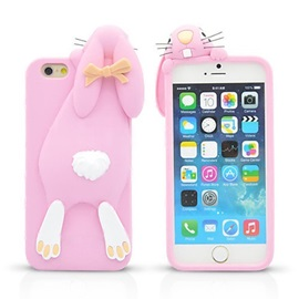 For iPhone 6S 6 Plus 3D Cartoon Bunny Silicone Back Case
