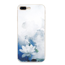 Silicone Blue and White Porcelain Flower Case for iPhone 7/7Plus