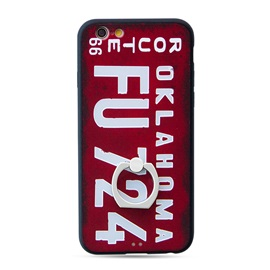 PC+TPU Metal Ring Stand Europe and the United States trend of personalized license plate phone case for iPhone 6 / 6S / 6Plus / 6S Plus