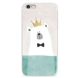 Silicone relief cute polar bear cartoon crown original Phone Case for iPhone 6 / 6S iPhone 6 / 6S Plus