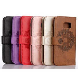 For iPhone Flip Leather Cover Embossed Wallet Card Holder Case